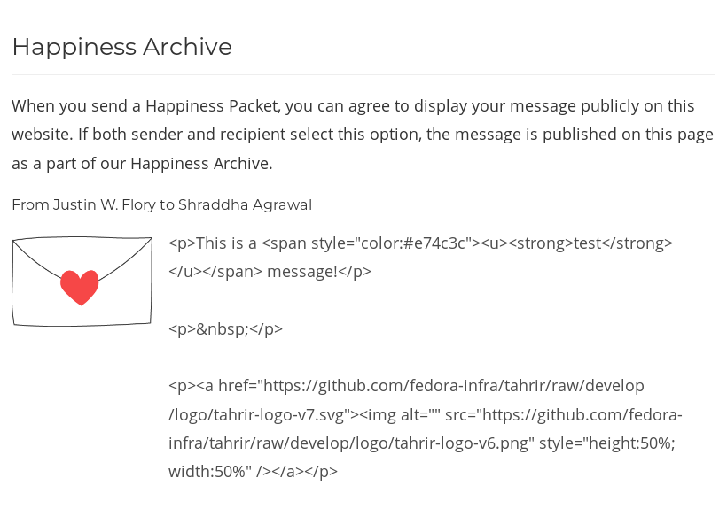 Comment 1: Happiness Archive does not render rich-text formatting