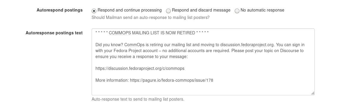 Screenshot of autoresponse mailer configuration in Mailman 3 / Hyperkitty