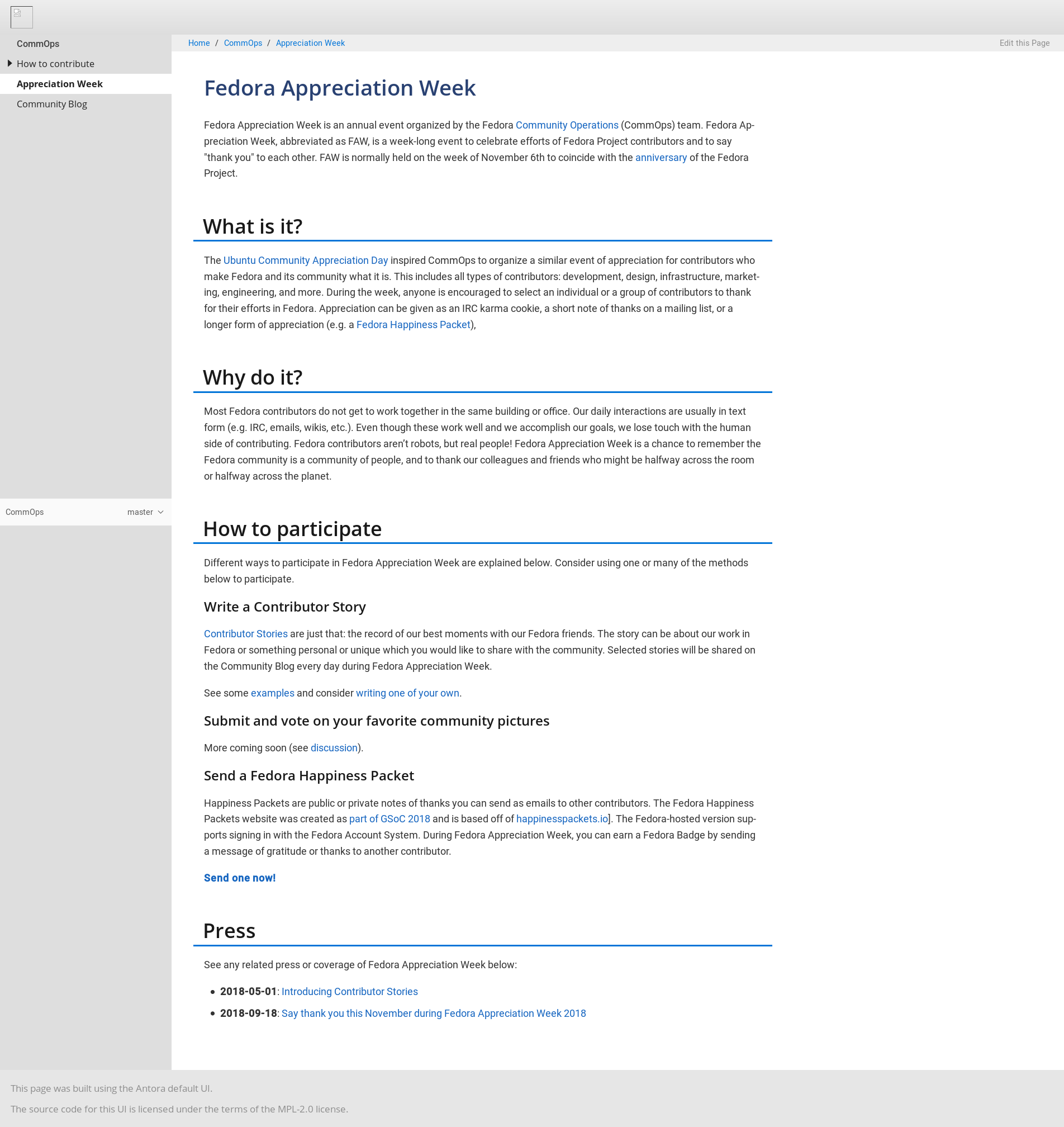 Local preview of Fedora Appreciation Week docs page