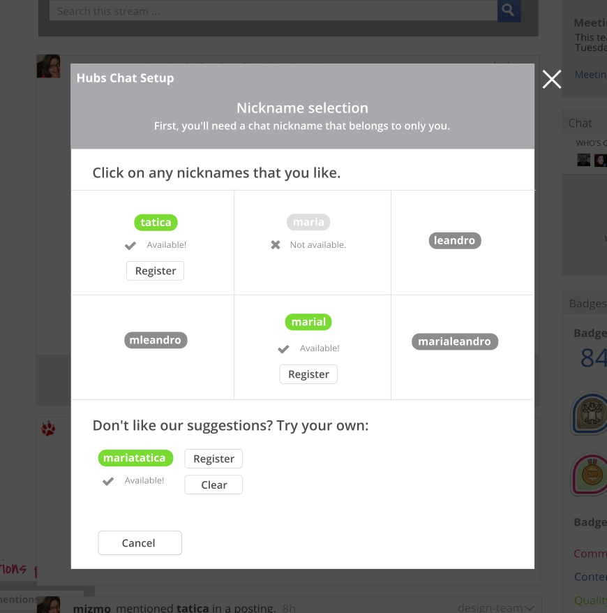 mockup showing 9 up nick suggestion display
